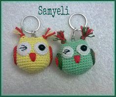 Önce şunu belirteyim: Bunun pat… Let's add more of the Eveeeet bi keychain recipe. First of all, I am not the pattern of this, Kristitullus. Crochet Toys Patterns, Stuffed Toys Patterns, Knitting Patterns, Crochet Gifts, Crochet Baby, Owl Keychain, Keychains, Amigurumi Doll, Crochet Projects