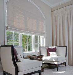 Roman Shades are a lovely way to bring color and great window design to a room. If you can imagine i. Arched Window Coverings, Curtains For Arched Windows, Roman Curtains, Roman Blinds, Custom Roman Shades, Custom Drapes, Custom Window Treatments, Window Styles, Window Design