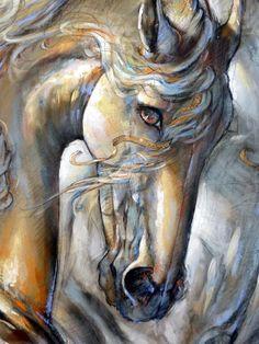 Jeanne Saint Cheron - Horse Drawings, Art Drawings, Horse Artwork, Equine Art, Horse Pictures, Animal Paintings, Beautiful Horses, Art Techniques, Art Oil