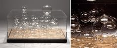 Creative Table Design - The bubbles never pop Engine Table, Invisible Glass, Moon Table, Aluminum Table, Dining Table Design, Leaf Table, Glass Table, Crate And Barrel, Interior Design Living Room