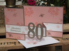 Eine Glückwunschkarte zum 80. Geburtstag für eine Dame durfte ich vor Kurzem gestalten. Ich habe mich für eine Double Fold Card in Kirsc...
