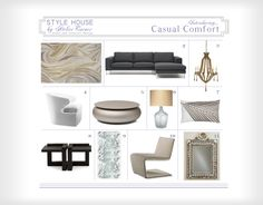 Chicago interior design, interior designer, upholstery fabric, gray sectional sofa, area rug, wood chandelier, shell mirror, round coffee ta...