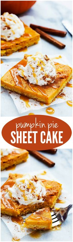 This Pumpkin Pie Sheet cake is AMAZING and perfect for feeding a crowd!!