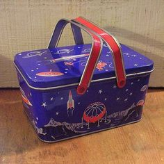 Fun Vintage Tin Lunch Box Outer Space Rockets Spaceships 1950s Lunchbox Pail | eBay