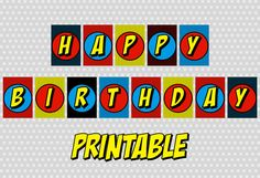 PRINTABLE Superhero Happy Birthday Banner, Party, Comic Sound Effect, Pop Art, Retro, DIY, Print it Yourself