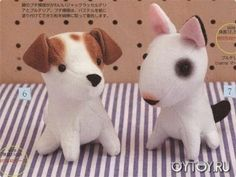 DIY Jack Russel & Bull Terrier Plush - FREE Sewing Pattern--wish I could read it--these guys are pretty cute! Softies, Plushies, Sewing Stuffed Animals, Stuffed Animal Patterns, Sewing Patterns Free, Free Sewing, Plushie Patterns, Softie Pattern, Sock Animals