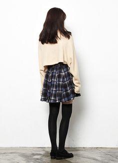 """ Flat check hur skirt_JEYK (NAVY) 40,000원 """