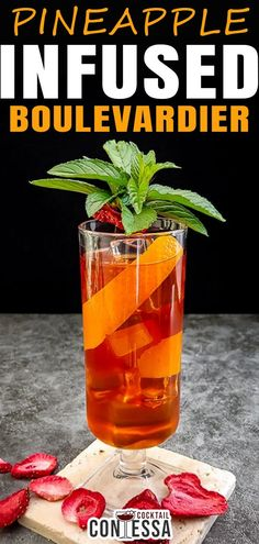 Pineapple Infused Boulevardier Cocktail Recipe. Fruit infusions are the slow simmer of bourbon cocktails, and this Pineapple-infused Boulevardier is just the ticket for a slow sipper. Boulevardiers are one of those cocktails that work best over ice for me. Composed of bourbon, sweet vermouth and Campari, they're both bitter and sweet, and the longer they rest on the rocks, the sweeter they become.   @cocktailcontessa #craftcocktails #summercocktails #pineapplecocktails #infusedcocktails Bourbon Cocktails, Easy Cocktails, Craft Cocktails, Summer Cocktails, Holiday Cocktails, Boulevardier Cocktail Recipe, Pineapple Cocktail, Recipe Maker, Best Cocktail Recipes