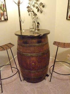 Wine Barrel with granite remnant Table Design, Pictures, Remodel, Decor and Ideas