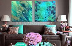 Two Wall Art Set of 2 Prints Turquoise Teal Abstract Watercolor Beach House Decor Water Color Painting Large Canvas Art Julia Apostolova Large Canvas Art, Large Wall Art, Wall Canvas, Canvas Art Prints, Beach Watercolor, Abstract Watercolor, Watercolor Paintings, Abstract Paintings, Turquoise Art
