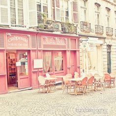 Pretty in Parisian pink, dining on crepes, in la belle France