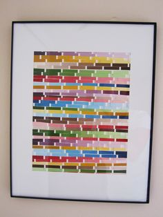 Cut swatches into strips, glue onto cardstock, frame. - Ilike the idea of utilizing the colors of your room in the picture. That could tie in odd combinations like aqua and red Paint Swatch Art, Paint Chip Art, Paint Swatches, Paint Chips, Diy Craft Projects, Fun Crafts, Paper Crafts, School Projects, Diy Wall Art