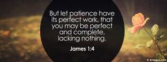 James 1:4 NKJV - But Let Patience Have Its Perfect Work - Facebook Cover Photo