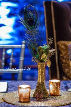 Gold Vase Centerpieces, Peacock Wedding Centerpieces, Gold Vases, Wedding Flower Arrangements, Wedding Flowers, Feather Decorations, Centrepieces, Centerpiece Ideas, Blue Vases