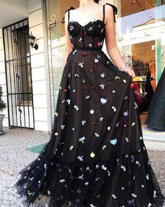 Black Prom Dresses,Straps Prom Dress,A Line Prom Dress,Long Prom Dresses,Charming Party Dress - Renee Marino Prom Dresses Elegant Dresses For Women, Elegant Prom Dresses, Black Prom Dresses, A Line Prom Dresses, Pretty Dresses, Evening Dresses, Dress Black, Dress Prom, Formal Dresses