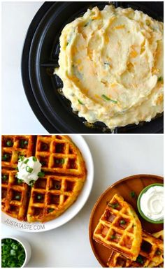 Cheesy Leftover Mashed Potato Waffles: Mashed potatoes get an amazing upgrade in under 5 minutes with your waffle iron. While the blogger just added scallions and cheese to her potatoes, the mix-in possibilities are endless. Cheese Waffles, Savory Waffles, Potato Waffles, Hashbrown Waffles, Cornbread Waffles, Mini Waffle Recipe, Waffle Maker Recipes, Vegetable Waffle Recipe, Pancake