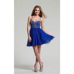 Dave and Johnny 10069 Bat Mitzvah Dress Mini  Sleeveless ($220) ❤ liked on Polyvore featuring dresses, formal dresses, sapphire blue, blue homecoming dresses, spaghetti strap prom dress, sweetheart neckline prom dress, prom dresses and blue mini dress