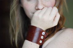leather cuff bracelet with buttons