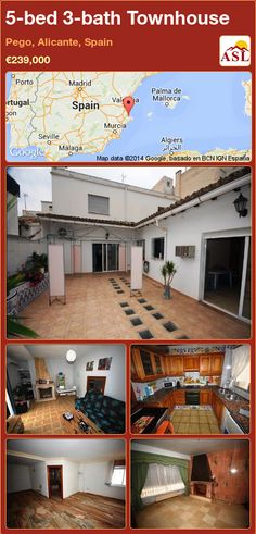 Townhouse for Sale in Pego, Alicante (Costa Blanca), Spain with 5 bedrooms, 3 bathrooms - A Spanish Life Open Family Room, Open Fireplace, Underfloor Heating, Large Bathrooms, Entrance Hall, Malaga, Ground Floor, Laundry Room, Porto