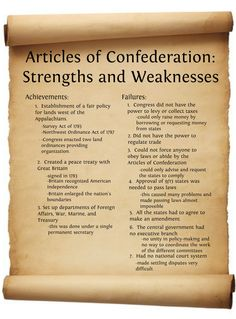 Articles of Confederation | Articles of Confederation Strengths and Weaknesses…