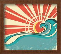 Sea Waves.Vintage Illustration Of Nature Poster With Sun On Old Paper Poster por GeraKTV na AllPosters.com.br