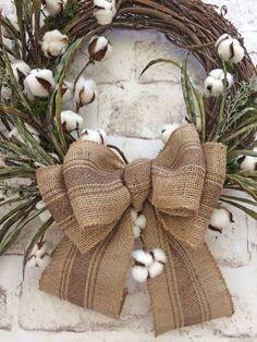 Cotton Wreath Cotton Boll Wreath Fall Wreath by AdorabellaWreaths Wreath Crafts, Diy Wreath, Grapevine Wreath, Wreath Ideas, Wreath Bows, Wreath Burlap, Cotton Wreath, Outdoor Wreaths, Burlap Bows