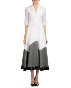 White and Gray Mangalgiri Paneled Dress - MYOHO by Kiran and Meghna* - Designers