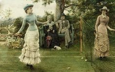 George Goodwin Kilburne (English painter, 1839-1924) A Game of Tennis