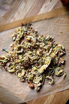 Zucchini Curly Fries with Garlic, Basil Aioli via Earthy Feast