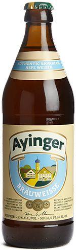 Cerveja Ayinger Brauweisse, estilo German Weizen, produzida por Ayinger, Alemanha. 5.1% ABV de álcool.