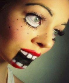 rostro maquillado simulando  deformidad