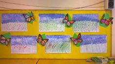 Kukkaniittyä taivas tuputtamalla, ruohikko vahaväreillä ja kukat pölypastilleilla. Perhosissa symmetrian harjoittelua värittämällä puolet samanlaisiksi