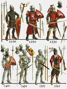 evolution of European medieval suit of armor Armadura Medieval, Fantasy Armor, Medieval Fantasy, Armor Clothing, Medieval Weapons, Medieval Knight Armor, Knights Templar, Military History, Middle Ages