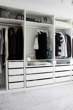 Create More Space in Your Homes With Ikea Pax Closet Ikea Pax Closet, Bedroom Closet Doors, Bedroom Closet Storage, Closet Drawers, Bedroom Drawers, Diy Drawers, Bedroom Wardrobe, Diy Bedroom, Closet Shelves