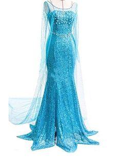 Ninimour Mächen Eiskönigin Prinzessin Cosplay Fasching Kostüm Tutu Kleid, blau, Gr. M