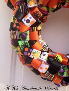 Minnie Mouse Halloween Ribbon Wreath by KKsHandmadeWreaths on Etsy, $40.00