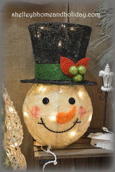 Lighted Snowman Head Christmas Tree Topper PRE ORDER | Snowman ...