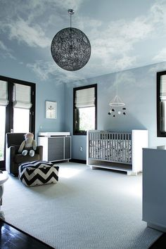 Fabulous soothing nursery with attempt to bring in the bright blue sky