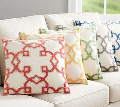 Trellis Velvet Appliqué Pillow Covers #potterybarn