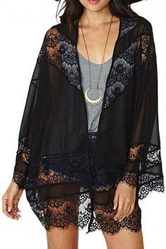 Black Floral Lace Boho Style Sheer Chiffon Cardigan Kimono Coat Blouse Shirt Top M Kimono Cardigan, Cardigan Chiffon, Gilet Kimono, Kimono Coat, Chiffon Kimono, Sheer Chiffon, Haut Kimono, Top Kimono, Black Lace Kimono