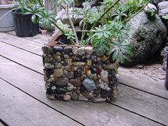 Cobblestone Covered Planter Box