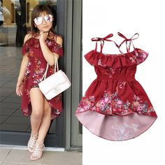 Floral print Toddler Kids Baby Girls clothes Off Shoulder strap Ruffle cotton Romper sleeveless summer Playsuit one pieces Kids Outfits Girls, Dresses Kids Girl, Girl Outfits, Kids Frocks, Frocks For Girls, Suspenders For Kids, Baby Dress Design, Frock Design, Kids Dress Patterns