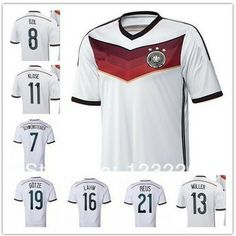 f8c0e3e00 Top Thai quality Germany World Cup 2014 Jersey OZIL KLOSE MULLER GOTZE LAHM  REUS Germany Jersey 2014 Soccer jerseys