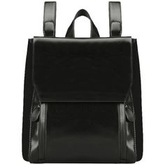 Black Faux Leather Stitching Backpack With Handle ($15) ❤ liked on Polyvore featuring bags, backpacks, vegan leather backpack, leather look backpack, faux-leather backpacks, faux leather bag and knapsack bag