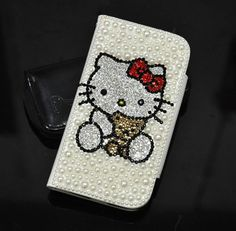 Pearl Swarovski Crystal Hello Kitty Leather Wallet Case for Samsung Galaxy S4 Case - White