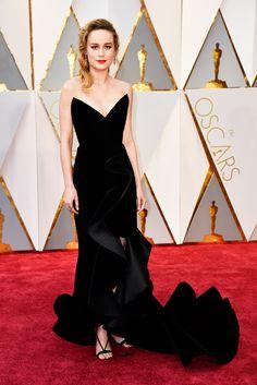 The Academy Awards 2017 Brie Larson in Oscar de la Renta and Aquazzura shoes