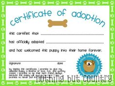 adoption certificate template Puppy Birthday Party – Part 2 (Puppy Stations) Dog Themed Parties, Puppy Birthday Parties, Puppy Party, Sleepover Party, Dog Birthday, Birthday Party Themes, Birthday Ideas, Paw Patrol Party, Paw Patrol Birthday