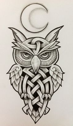 celtic wolf tattoo designs | celtic owl and moon by tattoo design designs interfaces tattoo design ...