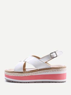 88a3519202514 Shop Criss Cross Patent Leather Wedge Sandals online. SheIn offers Criss  Cross Patent Leather Wedge