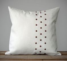 Copper Studded Pillow Cover in Cream Linen (20x20) by JillianReneDecor